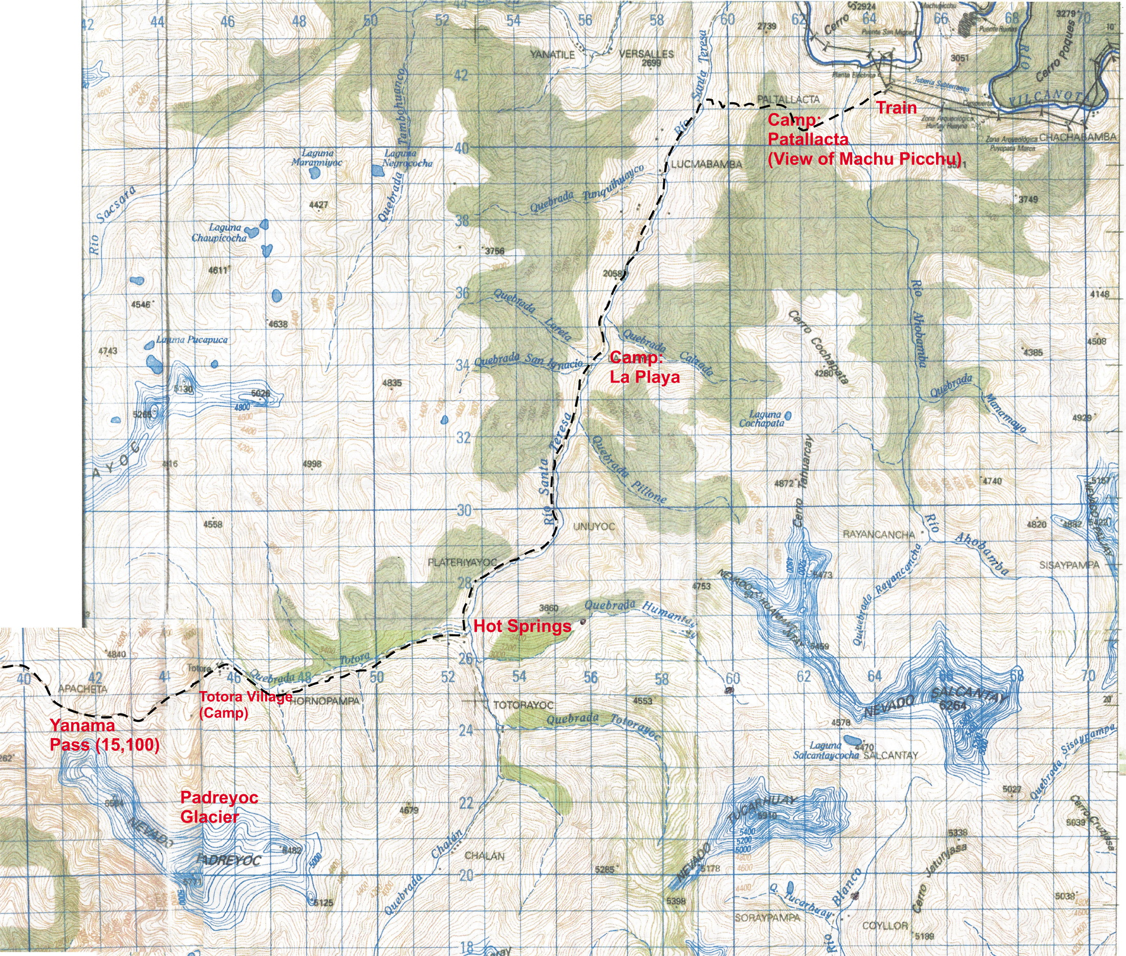 Topo Map Of Choquequirao Trek Map HIGH RESOLUTION - Where to get topo maps for hiking