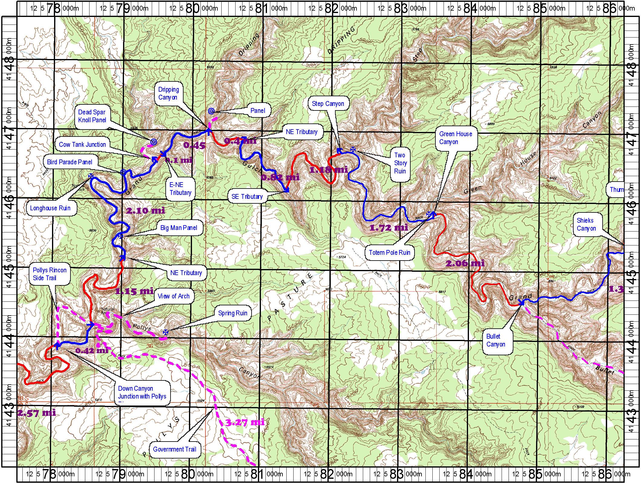 Topo map of Grand Gulch Primitive Area Utah-Anasazi Ruin Map