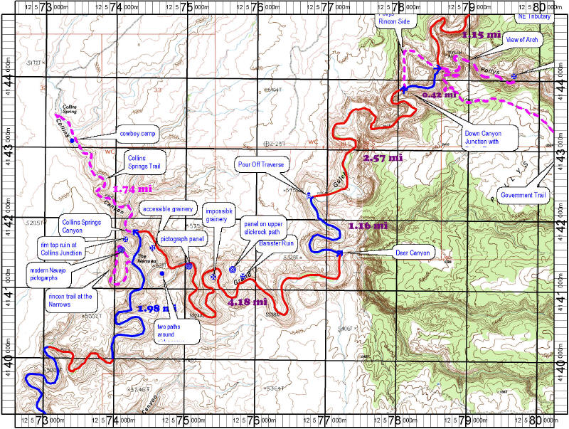 Topo map of Grand Gulch Primitive Area Utah-Anasazi Ruin Map Grand Gulch Trail Map on