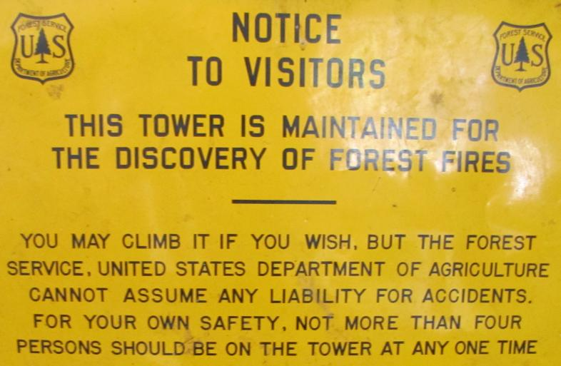 Reeds Peak Fire Tower Visitor Sign